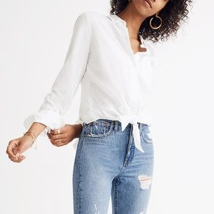 Madewell Tie Front Button Down Shirt Blouse